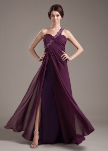 Dark Purple Chiffon Prom Dress One Shoulder Brush Train