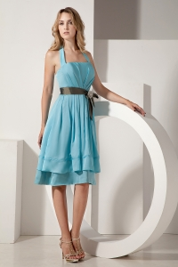 Aqua Blue Dama Dress for Quinceanera Halter Knee-length
