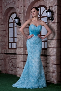 Celebrity Evening Dress Fabric With Rolling Flowers Aqua Blue