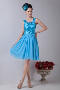Straps Dama Dress Aqua Blue Chiffon Ruched Knee-length