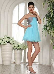 Cocktail Homecoming Dress Aqua Blue and Grey Mini-length