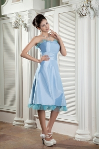 Baby Blue Dama Dress Strapless Tea-length Ruched A-line
