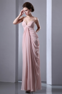 Baby Pink Prom Evening Dress Spaghetti Straps Chiffon Ruching