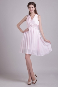 V-neck Ruched Dama Dress Baby Pink Empire Mini-length