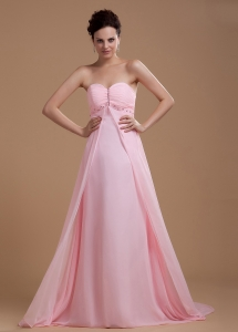 Sweetheart Beaded Prom Dress With Court Train Baby Pink