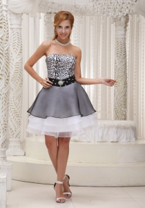 Leopard and Organza Prom Homecoming Dress Black White