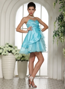 Homecoming Cocktail Dress Mini-length Beaded Aqua Blue