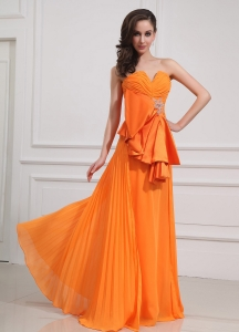 Sweetheart Orange Prom Dress Empire Beading Chiffon