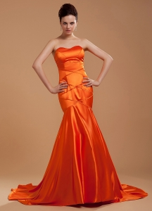 Prom Dress Orange Red Mermaid Brush Train Sweetheart Bead