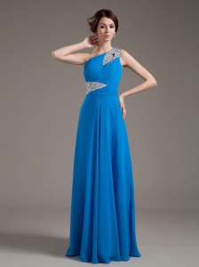 Royal Blue Chiffon Prom Dress One Shoulder Beading Ruching