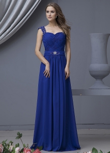 Royal Blue Chiffon Prom Dress Beading Straps Ruching