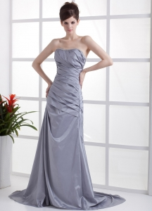 Brush Train Prom Dress Grey Taffeta Ruching Beading