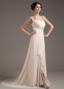 One Shoulder Champagne Prom Dress Chiffon Brush Train Bead