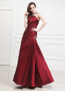 Halter A-Line Prom Dress Beading Taffeta Wine Red Ruching