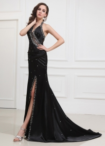 V-neck Halter Prom Dress Beading Brush Train Black Slit
