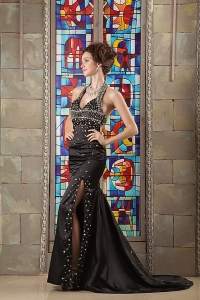 Halter Celebrity Pageant Dress Black Court Train Beading