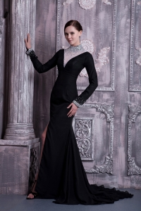 High-neck Prom Celebrity Dress Black Court Train Beading