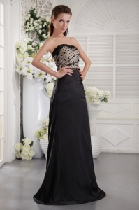 Ruched Dotted Celebrity Evening Dress Sweetheart Black