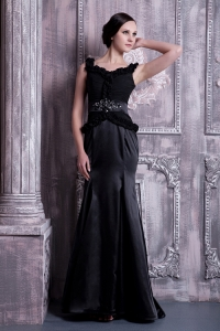 Straps Prom Celebrity Dress Black Brush Train Beading Ruch