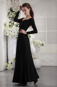 V-neck Long Sleeves Celebrity Evening Dress Ruch Black
