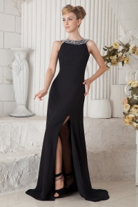 Scoop Evening Celebrity Dress Rush Train Beading Black