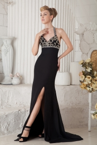 Evening Celebrity Dress Black Brush Train Beading Halter