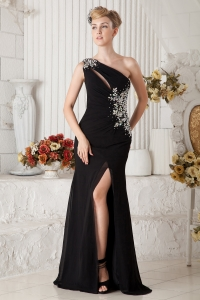 Beading One Shoulder Evening Celebrity Dress Brush Train Black Color