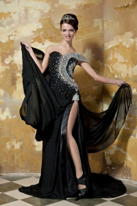 One Shoulder Beaded Celebrity Evening Dress Black Chapel Train