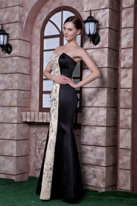 Black Champagne Prom Celebrity Dress Mermaid Embroidery