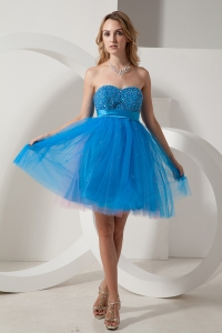 A-line Dama Dress Sweetheart Blue Beading Mini-length