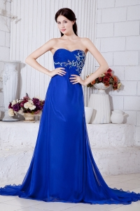 Evening Pageant Dress Brush Train Royal Blue Appliques