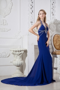Court Train Evening Celebrity Dress Royal Blue Halter Bead