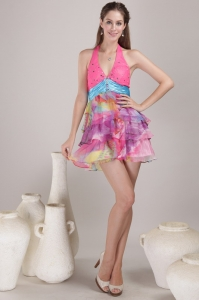 Colorful Print Cocktail Graduation Dress Halter Mini-length