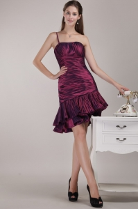Ruffles Ruch Cocktail Holiday Dress One Shoulder Burgundy