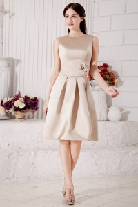 Bateau Dama Dress Knee-length Champagne Handle Flowers