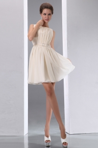 Scoop Dama Dress for Quinceanera Mini-length Champagne