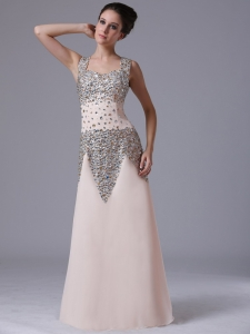 Beaded Straps Celebrity Pageant Dress Square Champagne