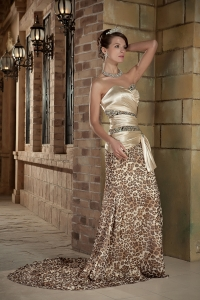 Taffeta Leopard Prom Celebrity Dress Champagne Sweetheart