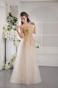Tulle Sequins Prom Celebrity Dress Champagne Sweetheart
