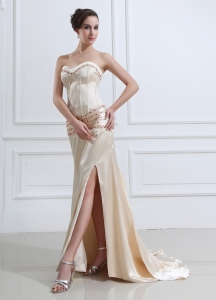 High Slit Sweetheart Prom Evening Dress Champagne Beaded