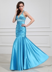 Elastic Woven Satin Prom Dress Beading Halter Aqua Blue