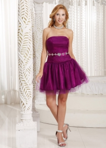 Fuchsia A-line Dama Dress Tulle Beading Mini-length