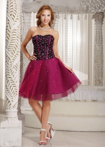 Tulle Fuchsia Homecoming Cocktail Dress A-line Beading
