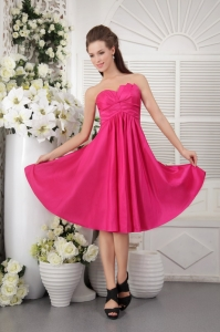 Knee-length Hot Pink Dama Dress Ruch for Quinceanera