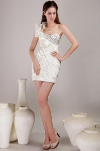 Mini-length Cocktail Holiday Dress One Shoulder Beading