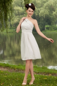 Grey Chiffon Dama Dress Knee-length One Shoulder Ruching