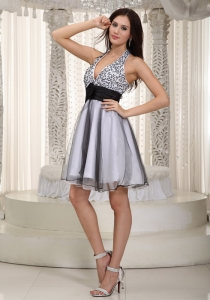 V-neck Halter Prom Cocktail Dress Mini-length Sash Gray