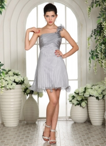 One Shoulder Prom Homecoming Dress Ruch Organza Gray