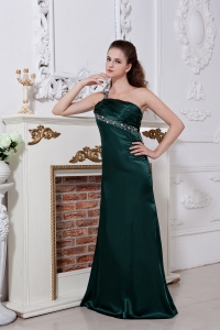 Green One Shoulder Prom Evening Dress Ruch and Beading