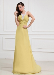 Halter Prom Dress Yellow Crisscross Beading Ruching